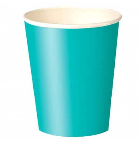 Gobelets en carton Bleu Turquoise (x8)| Hollyparty