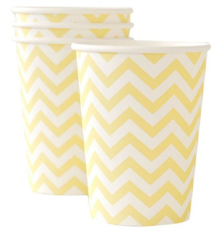 Gobelets en carton Chevron Jaune pastel (x6)| Hollyparty