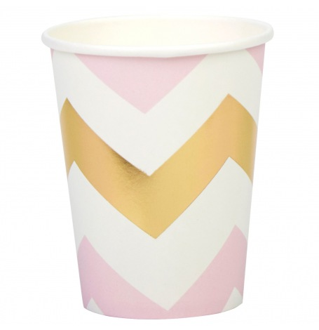 Gobelets en carton Chevron Rose & Or (x4)| Hollyparty