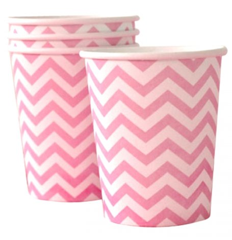 Gobelets en carton Chevron Rose (x6)| Hollyparty
