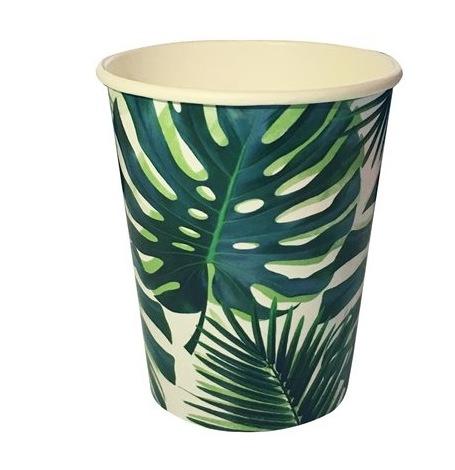 Gobelets en carton Feuillage Vert Tropical (x8)| Hollyparty