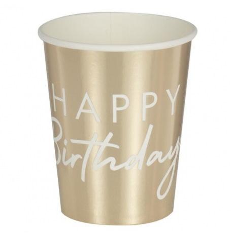 Gobelets en carton Happy Birthday Blanc & Or (x8)| Hollyparty