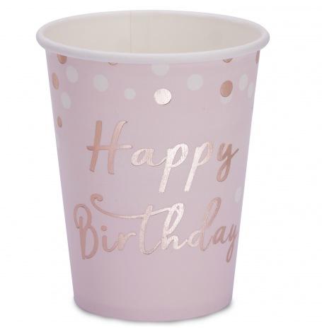 Gobelets en carton Happy Birthday Rose Gold (x4)| Hollyparty
