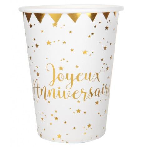 Gobelets en carton Joyeux Anniversaire Or (x5)| Hollyparty