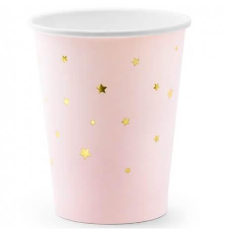 Gobelets en carton Or Etoile Rose Pastel (x6)| Hollyparty