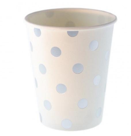 Gobelets en carton à pois Argent (x6)| Hollyparty