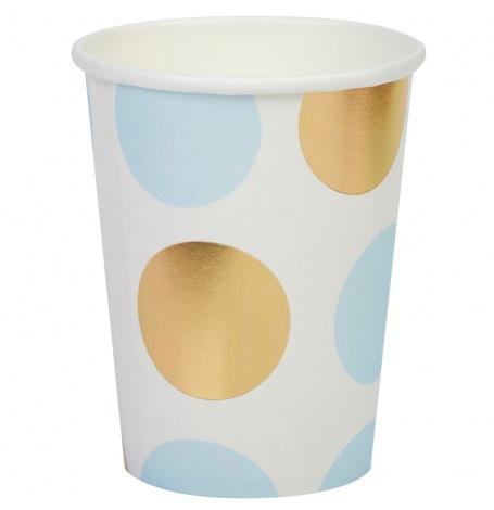 Gobelets en carton à pois Bleu & Or (x4)  Hollyparty