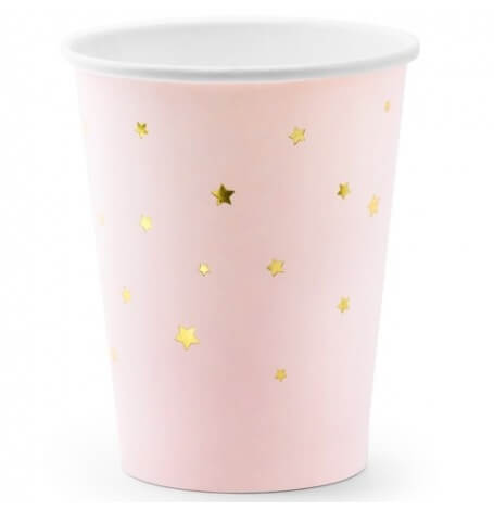 Gobelets en carton Rose Pastel  Etoile Or (x6)| Hollyparty