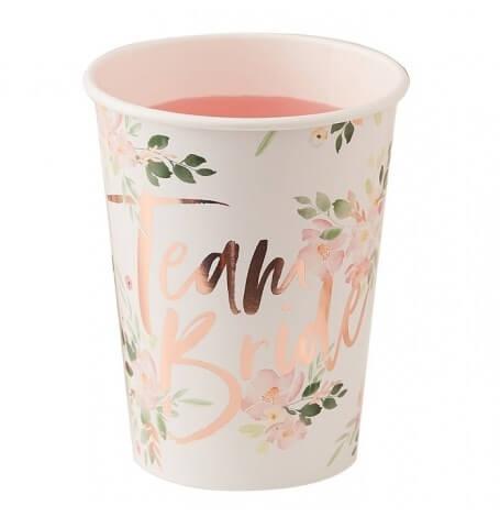 Gobelets en carton Team Bride Floral Rose Gold (x4)| Hollyparty