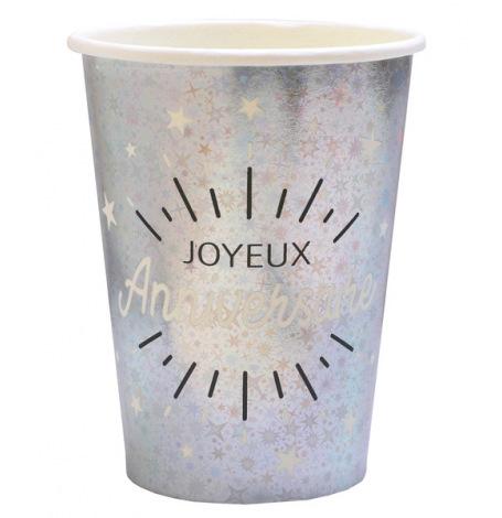 Gobelets Joyeux Anniversaire Étincelant Argent & Noir(x5)| Hollyparty