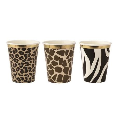 Gobelets Safari Leopard, Girafe, Zèbre Or (x9)| Hollyparty