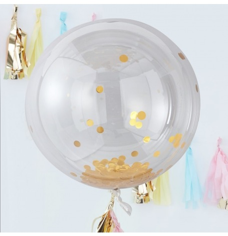 Grand Ballon Bulle Plastique Transparent Confettis Or | Hollyparty