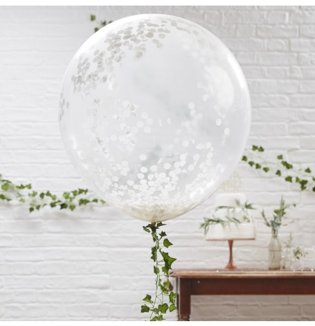Grand Ballon Latex Transparent Confettis Blanc| Hollyparty