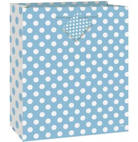 Grand sac cadeau Bébé - Bleu à pois| Hollyparty