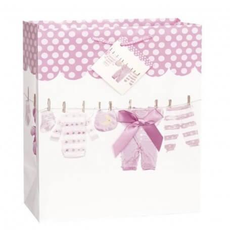 Grand sac cadeau rose - Vêtement bébé   Hollyparty