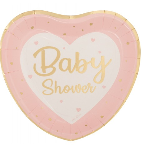 Grandes Assiettes Coeur Baby Shower Rose & Or (x4)  Hollyparty