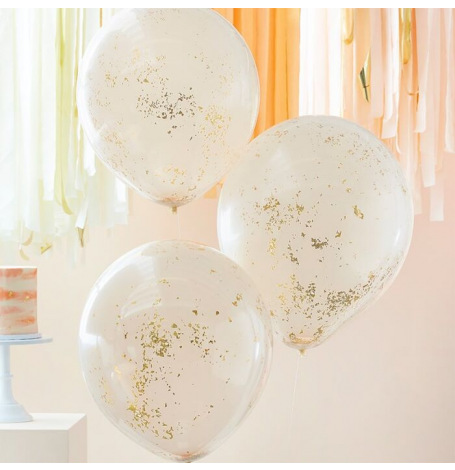 Grands Ballons confettis Pêche & Or (x3)| Hollyparty