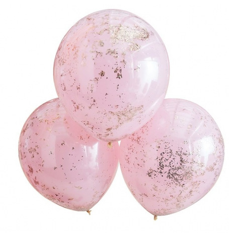 Grands Ballons Confettis Rose Gold & Rose (x3)  Hollyparty