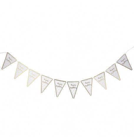 Guirlande 10 Fanion Happy Birthday Pois Blanc & or | Hollyparty