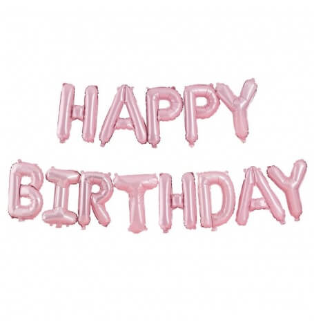 Guirlande Ballon Aluminium Happy Birthday Rose Pastel | Hollyparty