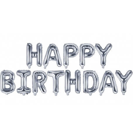 Guirlande Ballon Aluminium Mylar Happy Birthday Argent| Hollyparty