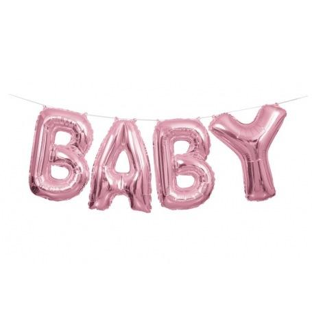 Guirlande Ballon Mylar Aluminium Rose Métallisé BABY   Hollyparty