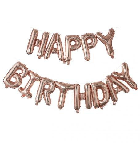 Guirlande Ballon Mylar Happy Birthday Rose Gold| Hollyparty