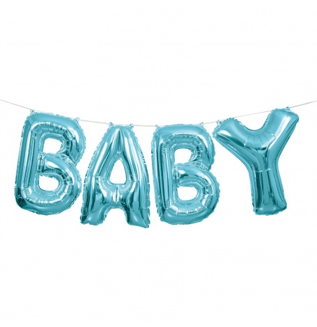 Guirlande Ballons Mylar Aluminium Bleu Métallisé BABY| Hollyparty