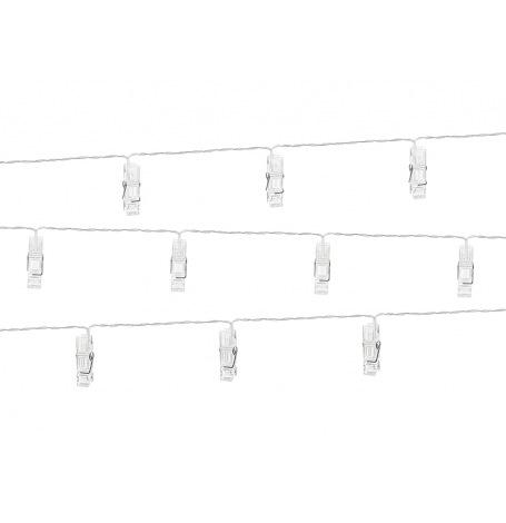 Guirlande décorative de 10 clips photo LED Blanc 1,4 m   Hollyparty