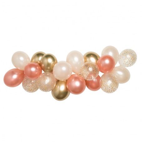 Guirlande de 20 ballons Rose Gold, Or & Pêche| Hollyparty