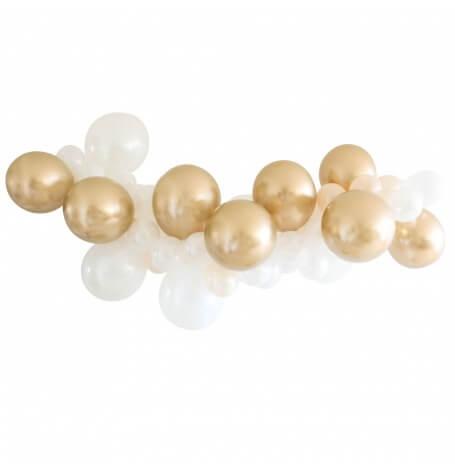 Guirlande de 48 Ballons Blanc & Or Chromé| Hollyparty