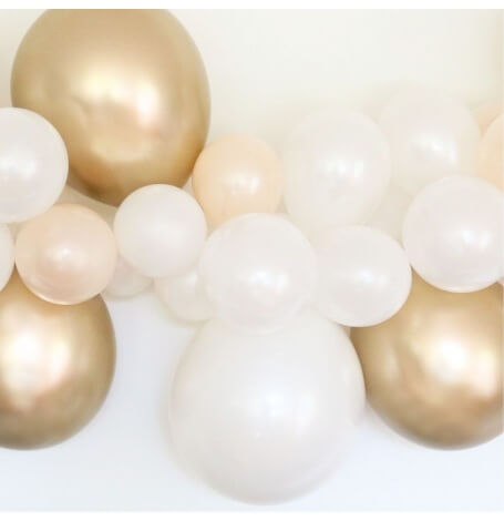 Guirlande de 48 Ballons Pêche, Blanc & Or Chromé| Hollyparty