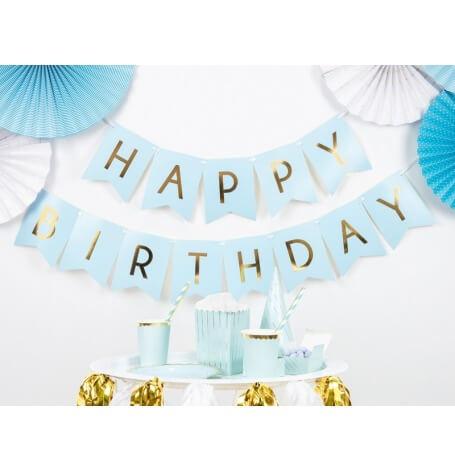 Guirlande Fanion Happy Birthday Bleu & Or   Hollyparty