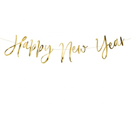 Guirlande Fanion Happy New Year Or  Hollyparty