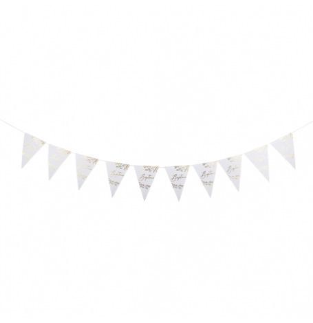 Guirlande Fanions Fougères Baptême Blanc Pailleté Or   Hollyparty