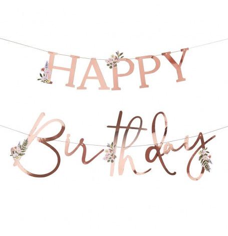 Guirlande Happy Birthday Floral Rose Gold| Hollyparty