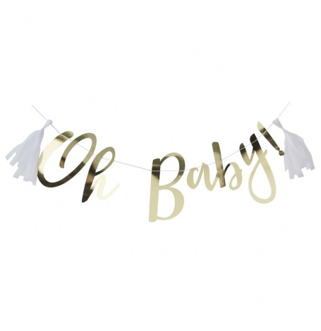 Guirlande Oh Baby Or & Blanc | Hollyparty