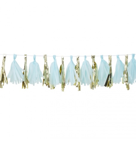 Guirlande Tassel Bleu & Or  | Hollyparty