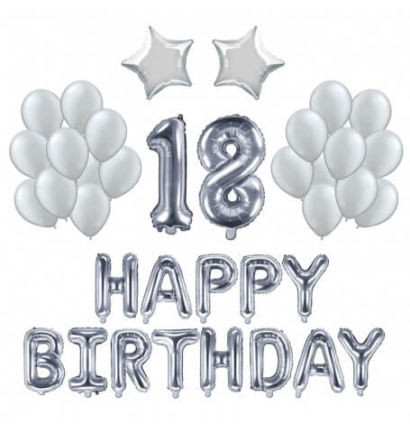 Kit Anniversaire 18 ans Ballons Argent (x21)| Hollyparty