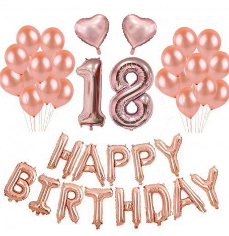 Kit Anniversaire 18 ans Ballons Rose Gold (x21)| Hollyparty