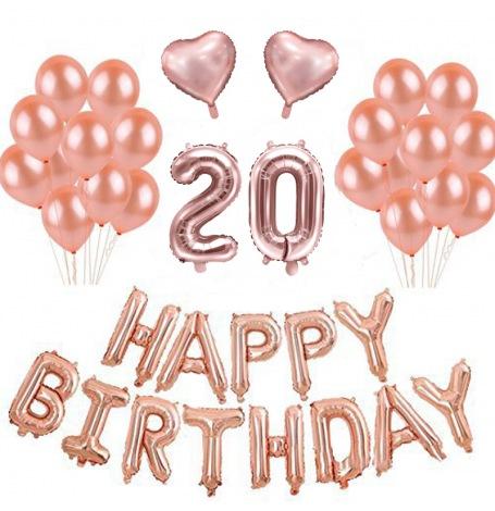 Kit anniversaire 20 ans ballons rose gold x21 - Dessin anniversaire 20 ans ...