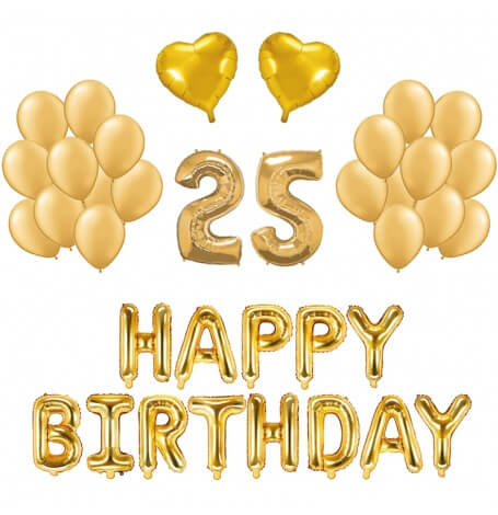 Kit Anniversaire 25 ans Ballons Or (x21)| Hollyparty