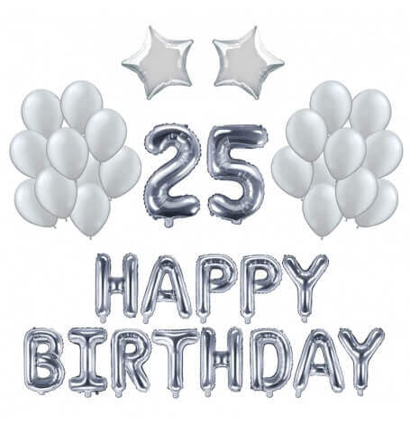 Kit Anniversaire Ballons 25 ans Argent (x21)  Hollyparty