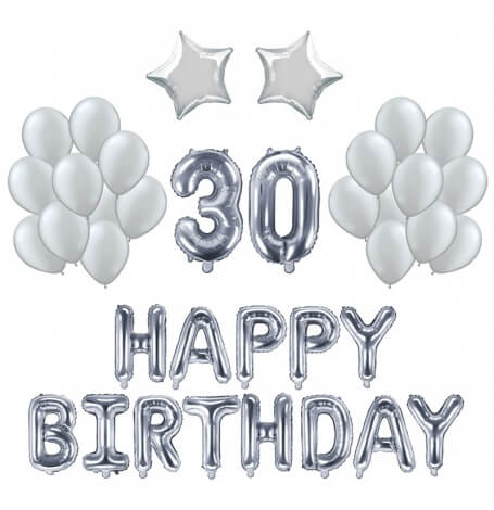Kit Anniversaire Ballons 30 ans Argent (x21)| Hollyparty