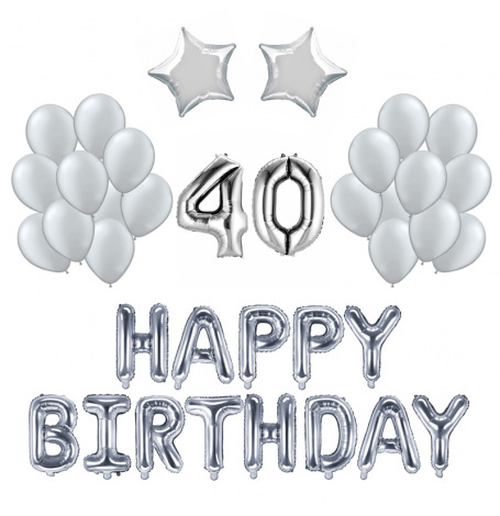 Kit Anniversaire Ballons 40 ans Argent (x21)| Hollyparty
