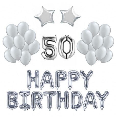Kit Anniversaire Ballons 50 ans Argent (x21)| Hollyparty