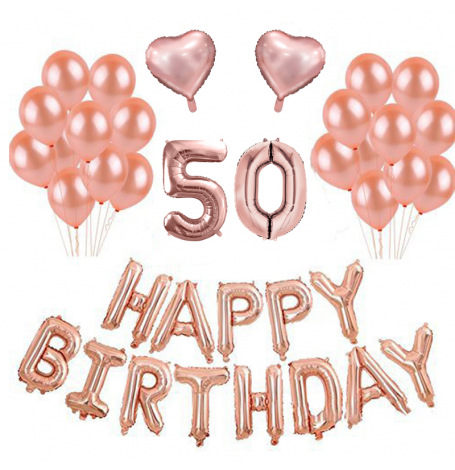 Kit Anniversaire Ballons 50 ans Rose Gold (x21)  Hollyparty