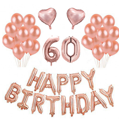 Kit Anniversaire Ballons 60 ans Rose Gold (x21)| Hollyparty