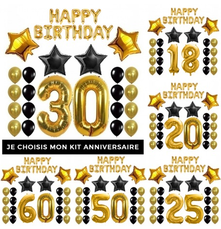 Kit Anniversaire Ballons Noir & Or| Hollyparty