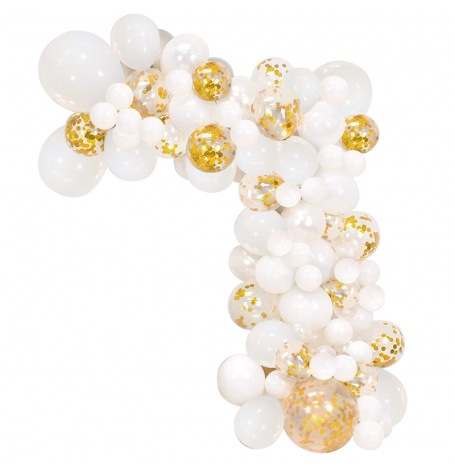 Kit Arche Ballons Blanc & Or | Hollyparty